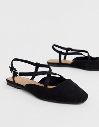 Asos Design DESIGN Loyal cross strap square toe ballet flats in black