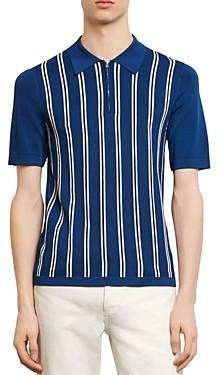 Sandro Simon Striped-Front Polo Sweater