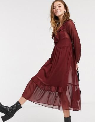 New Look frill detail chiffon midi dress in burgundy