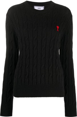AMI Paris Ami de Coeur cable knit jumper