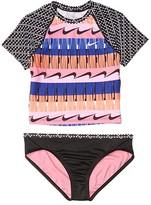 Nike Clash Crop Top Bikini Set (Little Kids/Big Kids) (Black) Girl's Swimwear Sets