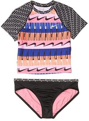 Nike Kids Clash Crop Top Bikini Set (Little Kids/Big Kids) (Black) Girl's Swimwear Sets