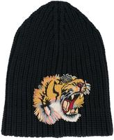 Gucci tiger patch beanie hat - men - Polyester/Wool - M