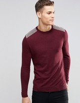 Asos Cotton Jumper With Shoulder Patches