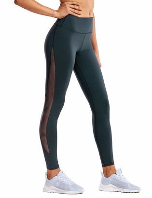 """CRZ YOGA Women's Cotton Feel Squat Proof Sports 4-Way-Stretch Mesh Gym Tights Workout Yoga Leggings -25/28 Inches Black - 28"""" 10"""