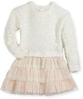 Billieblush Drop-Waist Sweater Tulle Dress, Size 2-3