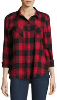 beachlunchlounge Elyse Fringe-Hem Plaid Blouse, Red