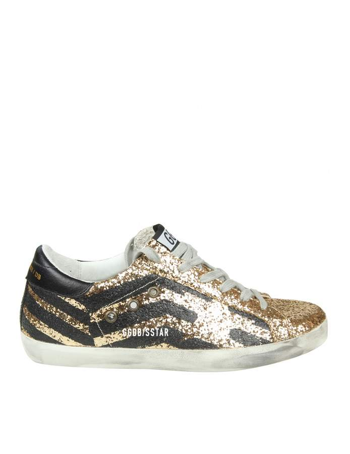 Golden Goose superstar Sneakers In Gold Glittered Leather