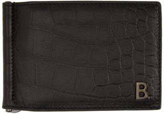 Balenciaga Black Croc B. Bill Clip Square Wallet