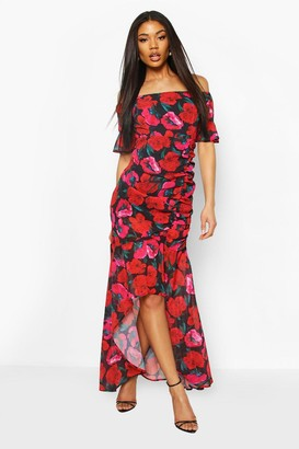 boohoo Floral Print Off The Shoulder Maxi Dress
