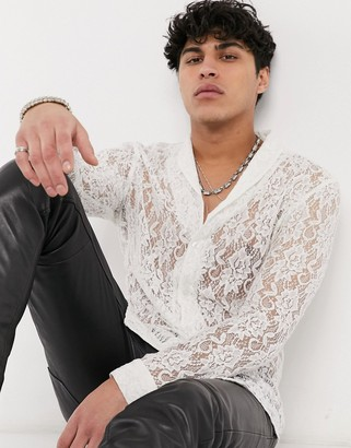 ASOS DESIGN slim fit lace shirt with shawl collar in ivory