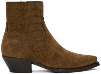 Saint Laurent Brown Croc Suede Lukas Boots