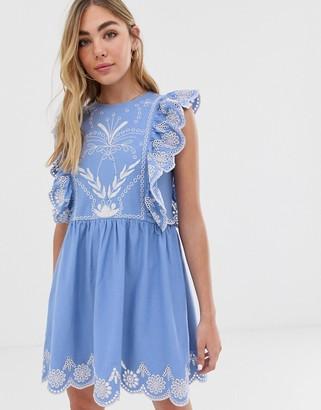 Asos DESIGN embroidered smock mini sundress in blue