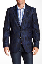 Robert Graham Albert Bridge Camouflage Two Button Notch Lapel Wool Sports Coat