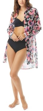 Carmen Marc Valvo Floral-Print Shirt Swim Cover-Up Women's Swimsuit