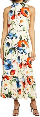 Tie Neck Floral Dress