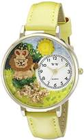 Whimsical Watches Lion Yellow Leather and Goldtone Unisex Quartz Watch with White Dial Analogue Display and Multicolour Leather Strap G-1610006