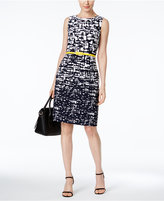 Connected Petite Belted Graphic-Print Sheath Dress