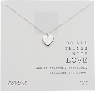 Dogeared Do All Things with Love, Large Heart Necklace (Sterling Silver) Necklace