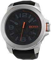 HUGO BOSS 1513345 Watch Men's Orange Stainless steel case, Silicone strap, Patterned Black dial, Quartz movement, Scratch resistant mineral, Water resistant up to 3 ATM - 30 meters - 100 feet