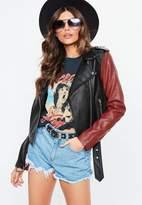 Missguided Black Contrast Sleeve Faux Leather Biker Jacket, Black