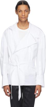 Thierry Mugler White Poplin Wrap Shirt