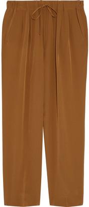 Max Mara Basilo Cropped Silk Crepe De Chine Tapered Pants
