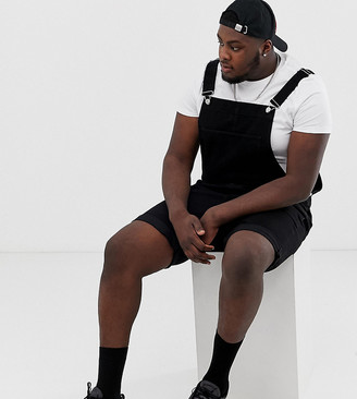 ASOS DESIGN Plus shorts dungaree in black