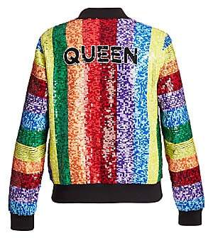 67209762d58 Alice + Olivia Women s Queen Sequin Rainbow Bomber Jacket