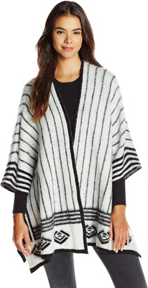 Olive + Oak Olive & Oak Women's Abstract Printed Sweater Cape Cardigan