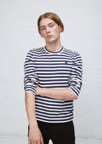 Comme des Garcons Navy / White Stripe Small Black Heart Long Sleeve T-shirt
