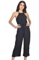 AX Paris Black High Neck Culotte Jumpsuit