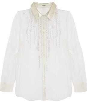 Elie Tahari Martha Metallic Leather-Trimmed Embellished Silk-Chiffon Blouse