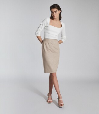Reiss Emily - Tailored Pencil Skirt in Oatmeal