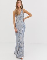 Bariano embellished patterned sequin strappy back maxi dress in silver