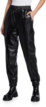 Ganni Lamb Leather Jogger Pants