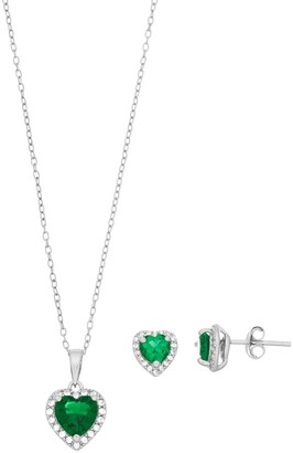 Sterling Silver Simulated Emerald & Lab-Created White Sapphire Heart Halo Jewelry Set