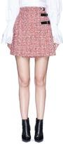 Alexander McQueen Buckle pleated tweed wrap mini skirt