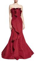 Oscar de la Renta Strapless Cascade-Ruffle Gown, Dark Red