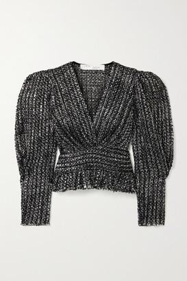 IRO Guarda Frayed Metallic Boucle-tweed Top - Black