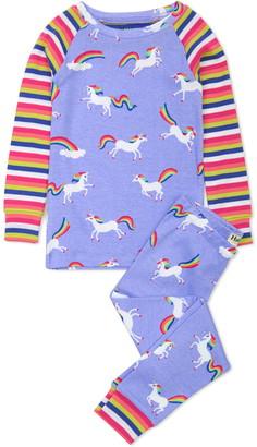 Hatley Kids' Rainbow Unicorns Organic Cotton Fitted Two-Piece Pajamas