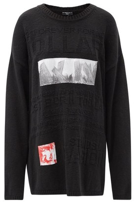 Raf Simons Ss02 Teenage Riot Applique Cotton Sweater - Black