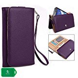 QMobile A15 Phone wristlet case with I.D and Card Holder (Purple)