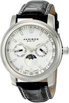 Akribos XXIV Men's AK573SS Ultimate Swiss Quartz Moon Phase Multi-Function Leather Strap Watch
