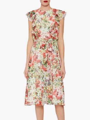 Gina Bacconi Rozella Floral Tie Belt Dress, Multi