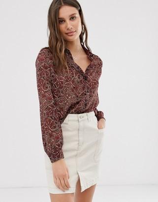 Only chiffon paisley print boxy blouse