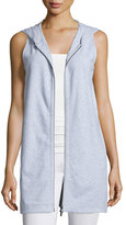 Eileen Fisher Zip-Front Hooded Jersey Vest, Dark Pearl