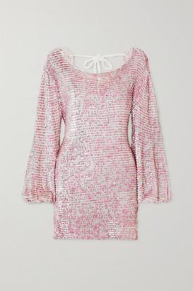 retrofete Tara Open-back Sequined Crocheted Cotton Mini Dress - Pink