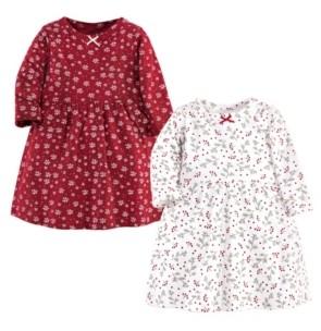 Hudson Baby Baby Girl Long Sleeve Dress, 2 Pack