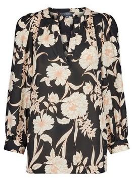 Dorothy Perkins Womens Dptall Black Floral Print Puff Sleeve Blouse, Black